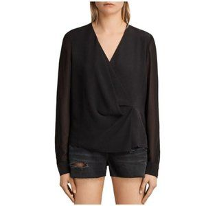 All Saints Nile Silk Long Sleeve Wrap Front Top